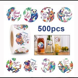 500 roll Watercolor animal thank you stickers